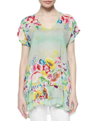 Skyee Floral-Print Long Ruffle Top, Women's