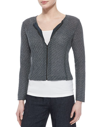 Cropped Jacquard Zip-Front Jacket, Petite