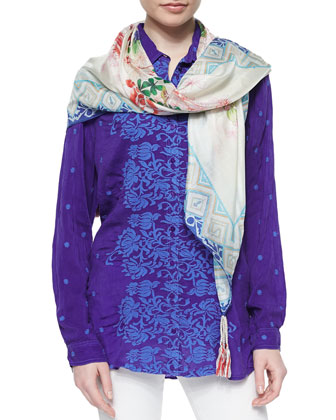 Ladera Embroidered Georgette Blouse & Anna Printed Silk Scarf