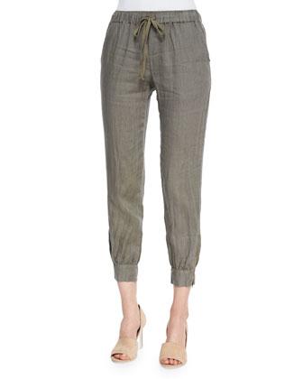 Linen Jogger Pants, Army