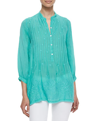 Pintucked Vine Georgette Blouse, Women's