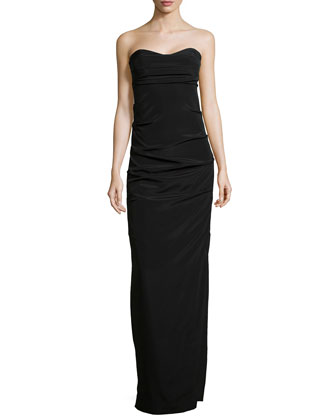 Ruched Strapless Stretch-Silk Gown, Black