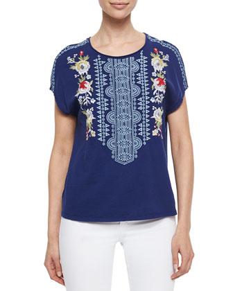 Odessa Embroidered Short-Sleeve Tee, Women's
