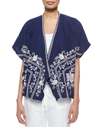 Johnny Was Collection Pandora Embroidered Poncho Cardigan, Scoop-Neck ...
