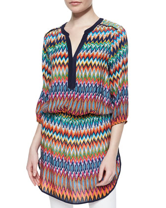 Patricia Zigzag-Print Long Tunic, Women's