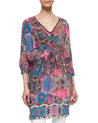 Vanessa Floral-Print Tunic, Pink, Women's