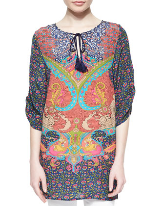 Juliet Silk Printed Long Tunic W/ Tassels, Blue