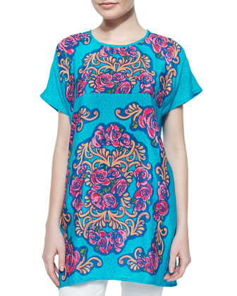Tiffany Printed Short-Sleeve Long Tunic, Turquoise, Women's