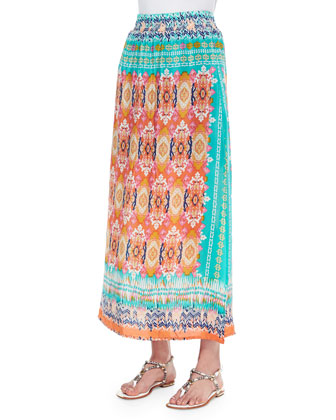 Hazel Printed Silk Long Skirt, Orange, Women's