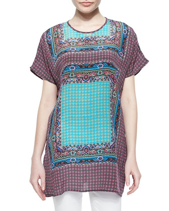 Tiffany Printed Short-Sleeve Long Tunic, Fuchsia, Women's