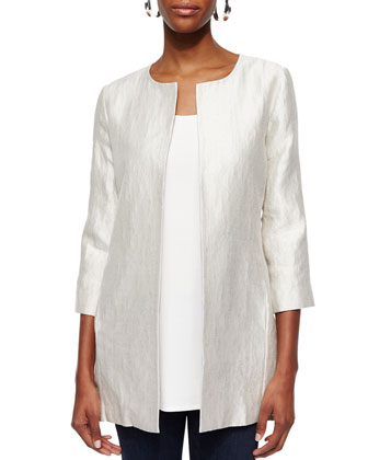 Metallic Jacquard Long Jacket, Petite