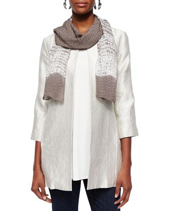 Metallic Jacquard Long Jacket, Silk Jersey Tunic & Organic Soft Stretch ...