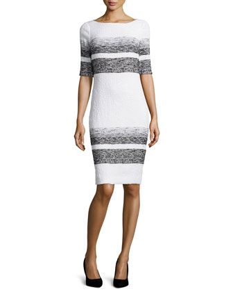 Half-Sleeve Striped Sheath Dress