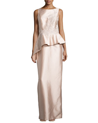 Embroidered Asymmetric-Peplum Shantung Gown
