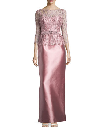 Lace & Satin Gown, Pink