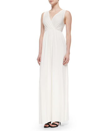 Sleeveless Morning Empire-Waist Long Dress, Women's