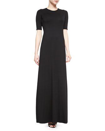 Davia Long Crewneck Short-Sleeve Dress
