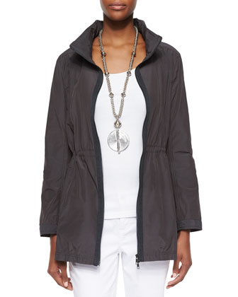 High-Collar Drawstring Jacket, Organic Cotton Slim Tank & Stretch Boyfriend ...
