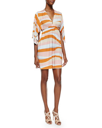 Ribbon-Print Mini Caftan Dress