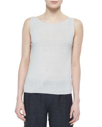 Sleeveless Linen-Blend Shell, Bone