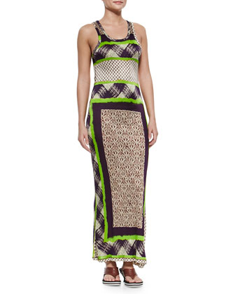 Scarf-Print Fitted Tank Dress