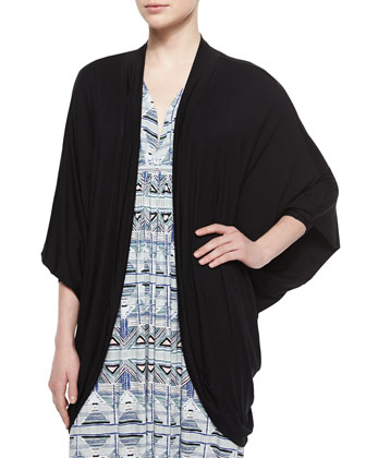 Siri Draped Batwing-Sleeve Cardigan, Black
