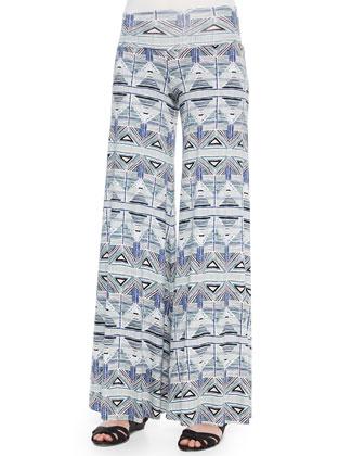 Lou Sleeveless Jersey Top & Stencil-Print Wide-Leg Trousers, Women's