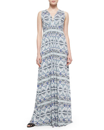 Stencil-Print Caftan Long Dress, Women's