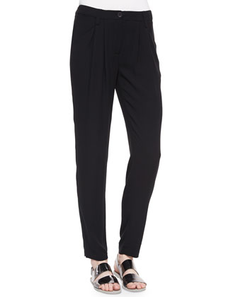 Silk Pleated Trousers, Black
