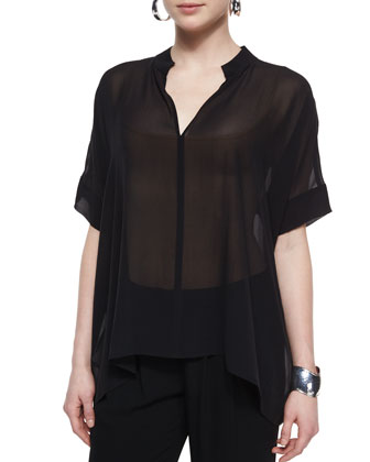 3/4-Sleeve Silk Box Top, Petite