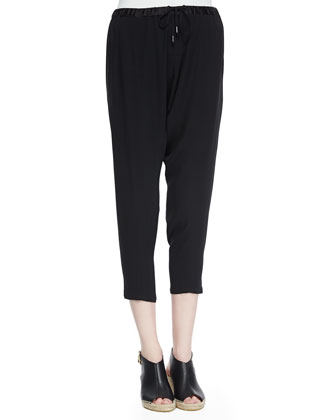 Drawstring Harem Ankle Pants, Black, Women's