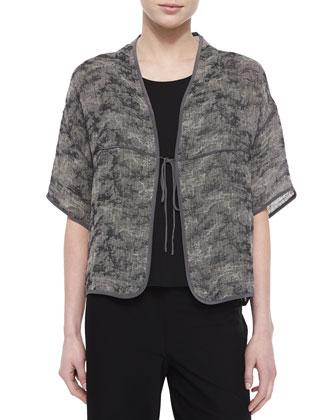 Half-Sleeve Jacquard Linen-Blend Tie-Front Jacket, Women's