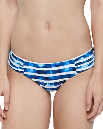 Striped High-Neck Swim Top & Ruched-Side Swim Bottom