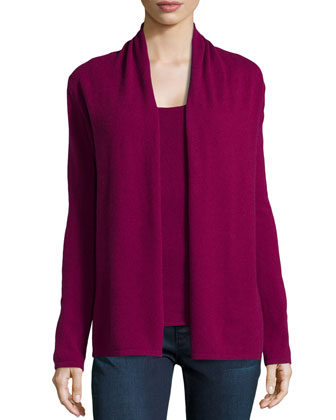 Open Long-Sleeve 9-Gauge Cashmere Cardigan