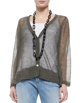 Deep-V-Neck Rustic Sheer Cardigan, Organic Cotton Slim Tank & Stretch ...