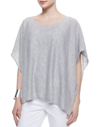 Short-Sleeve Cashmere Poncho, Scoop-Neck Jersey Cami, Organic Linen Knotted ...