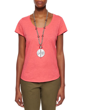Slubby Short-Sleeve Scoop-Neck Tee & Twill Ankle Pants, Petite