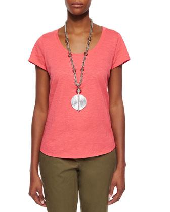 Slubby Short-Sleeve Scoop-Neck Tee, Women's