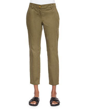 Twill Ankle Pants, Petite