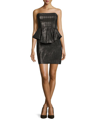 Strapless Metallic Peplum Dress
