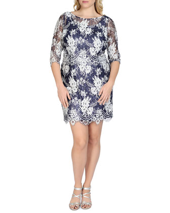 3/4-Sleeve Sequined Lace Cocktail Dress