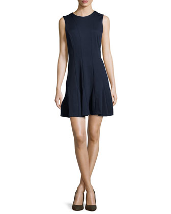 Amber Sleeveless Godet Dress, Navy