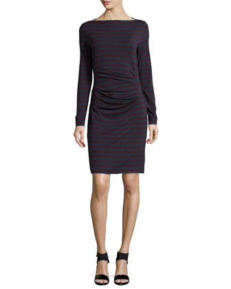 Quinn Long-Sleeve Striped Dress, Wine/Charcoal