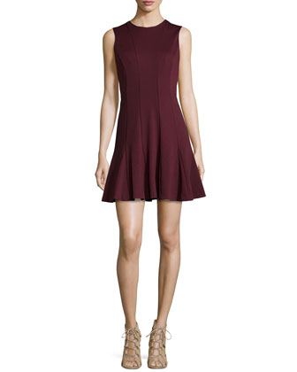 Amber Sleeveless Godet Dress, Burgundy