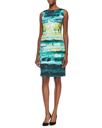 Faith Sleeveless Abstract-Print Sheath Dress