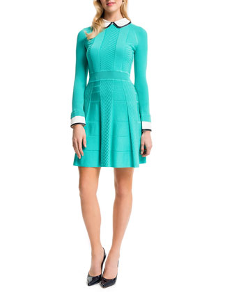 Mixed-Knit Dress w/Collar & Cuffs, Aqua Crush