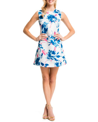 Slim Floral-Print Dress, New Ivory