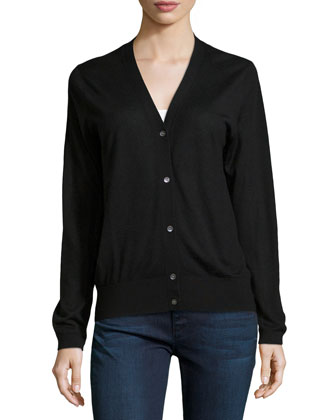 V-Neck Button-Front Cashmere Cardigan