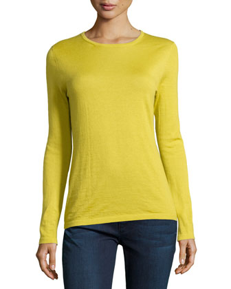 Crewneck Long-Sleeve Cashmere Top
