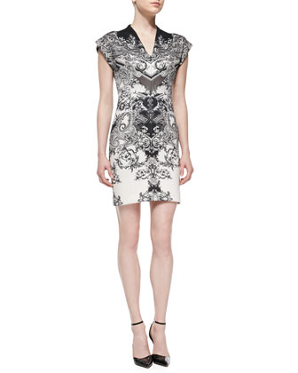 Short-Sleeve Paisley-Print Sheath Dress